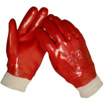 Handschoen pvc rood tricot boord mt 10,5