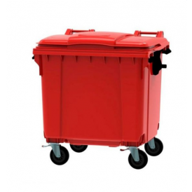 Vierwielcontainer 660l rood compleet
